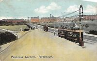 POSTCARD    HAMPSHIRE  PORTSMOUTH  Pembroke  Gardens   Trams