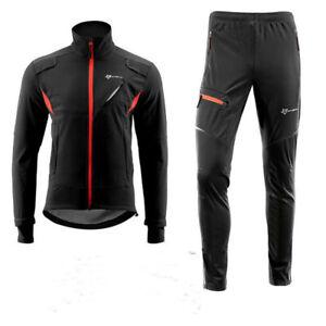 Water Resistant Outdoor Sport Coat Bike Tights Pants ROCKBROS Mens Winter Fleece Jacket//Trousers Warm Cycling Sportswear Reflective Windproof Jacket//Trousers