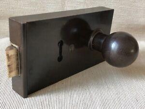 Original Vintage 1930's Art Deco Brown Bakelite Door Rim Lock & Key with Knobs