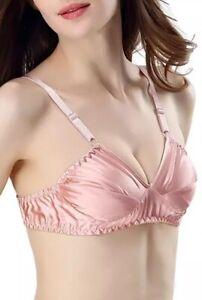 100% Mulberry Silk Ladies Summer  Bralette-Size 42C- Hot Pink