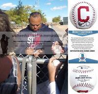 Carlos Baerga Cleveland Indians Autographed Signed Logo Baseball Proof Beckett