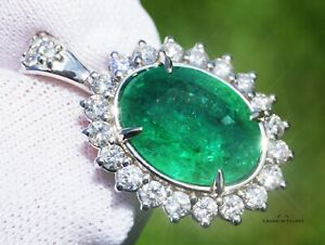 Emerald Pendant Gold Necklace Diamond Natural 4.92CT GIA Certified RETAIL $11700
