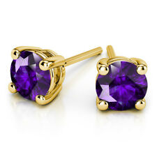 1.00 Ct Round Cut Amethyst Earring Stud 14K Solid Yellow Gold Studs
