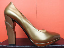 NIB PRADA BRONZE LEATHER SCULPTURED HEEL RUNWAY PATFORM PUMPS 39.5 8.5