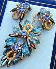 REPAIR D&E Juliana Blue Hematite Stones AB Rhinestones Brooch Pin Earrings