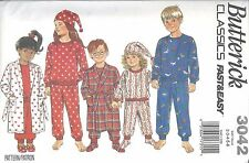 Butterick Sewing Pattern # 3042 Child's Robe Pajamas Booties Hat Size 2-3-4-5-6