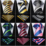 "HISDERN Stripe 3.4""Silk Woven Wedding Men Tie Necktie Handkerchief Set#RS1"