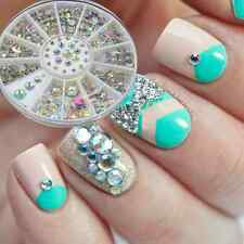 1Box 3D Acrylic Nail Art Tips Crystal Rhinestones DIY Decoration Wheel 2-5mm