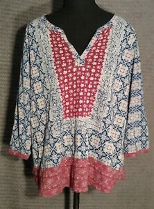 Lucky Brand Women's Size 1X Blue & Red V-neck Top/Blouse