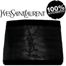 100% Autentico esclusivo YSL COUTURE Black Velvet & Raso firma logo Pochette