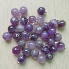Natural druzy amethyst stone round ball charms pendants 25pcs/lot  Wholesale