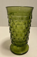 Vintage Green Cubist Indiana Iced Tea Glass Footed 6""