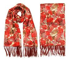 ConMiGo Oversized Muliti Colour Silk Flora Scarf/Shawl - Red and Beige