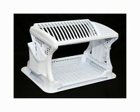 Plastic Dish Drainer Rack 2 Layer Tier Utensil Cutlery Draining Holder White