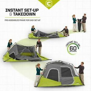 9 x 11' Core Equipment 6 Person Instant Cabin Tent Camping Sleeps 6 Easy Set Up