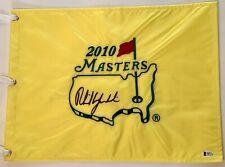 Phil Mickelson signed 2010 Masters golf flag augusta national pga beckett coa