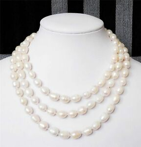 """Fashion jewelry 8-9MM white Akoya Cultured Pearl Necklace 48"""""""