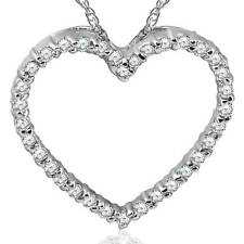 14K белое золото 1/2ct бриллиант сердце кулон ожерелье