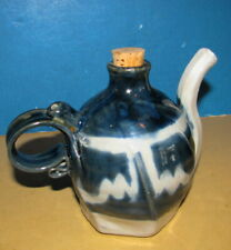 Schmidt Blue/Beige Unusual Tea Pot?/Stoneware?/Very Nice Condition/Attractive