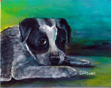 Australian Heeler Cattle Dog Art Puppy Acrylic 8x10 Pet painting Penny StewArt