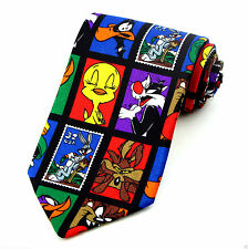 Looney Tunes Mens Necktie Cartoon Characters Bugs Taz Tweety Black Neck Tie New