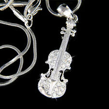 Violin Viola Cello Fiddle made with Swarovski Crystal Musical Charm Necklace New