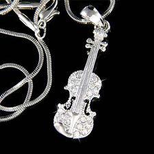 New w Swarovski Crystal Violin Viola Cello Fiddle Musical Charm Pendant Necklace
