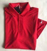 NWT Mens Nike Golf Swoosh Logo Dri-Fit Victory Short Sleeve Polo Shirt Red M