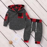 2pcs/Set Newborn Baby Boy Tracksuit Hooded Top + Long Pants Suit Outfits Clothes