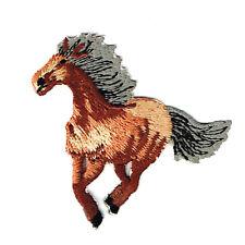 Pferd Gallopiert Braun Applikation Patch zum Aufbügeln Aufbügler 4,7x5,4 cm