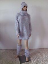 Pullover Sweater Mohair handgestrickt  Neu 38 40 42 44 L XL XXL grau handknitted