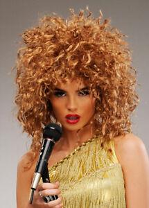 Womens Tina Turner Style Brown Rock Star Wig