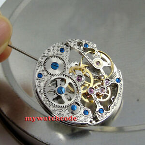 17 Jewels mechanical silver Skeleton Hand Winding 6497 movement fit parnis watch
