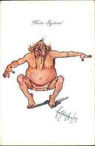 Fat Man Shirtless Eyeglasses Exercise Schonphleug BKWI 740 c1910 Postcard