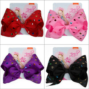 "8"" JOJO SIWA Large Love Heart hair bows with Alligator clip girls kids bowknot"