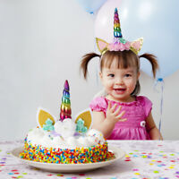 Unicorn Cake Topper Headband Party Decoration Eyelashes Reusable Kids Birthday