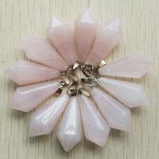 Natural rose quartz stone Hexagonal pyramid charms pendants 12pcs/lot Wholesale