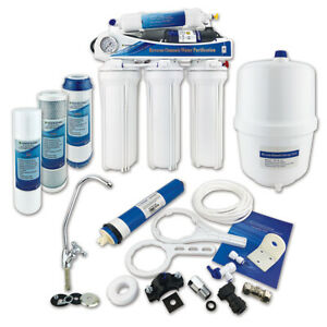 5 Stage Reverse Osmosis Water Filter System Premium RO with Booster Pump - 50GPD