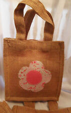 Handmade Burlap Small SHOPPER Tote BAG w/ Cath Kidston Fabric & Felt, Flower, UK