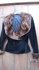 vintage Anni '40 luxe velluto nero pelliccia finta scialle giacca con colletto