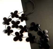 1 Black Wood Hand Carved & Painted Butterflys Dangle Necklace - # B122
