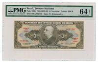 BRAZIL banknote 5 CRUZEIROS 1956. PMG MS-64 EPQ