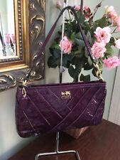 Coach Bag Wristlet Madison Violet Diagonal Pleated Patent Leather 48522 W15