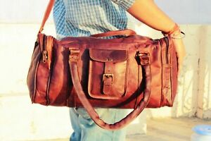 Unisex New Genuine Leather Overnight Travelling Gym Bag Handmade Duffle Bags