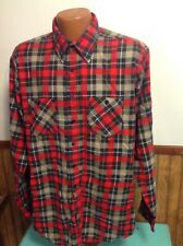Vintage Flannel Shirt Cotton Xlt X-Large Tall Red Gray