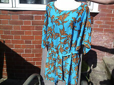 LOVELY TURQUOISE DRESS/TOP  LEAF DETAIL.NEW.GOOD SIZE.