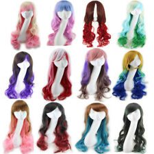 Women Hair Wig Synthetic Long Curly Wavy Gradient Full Wigs Harajuku Cosplay New