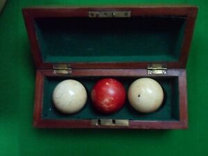 Antique Billiard Balls Boxed Set Late 1800s Snooker balls