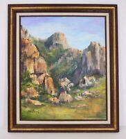 Irene Bergel Signed Red Rock of Utah 30x26 Framed Landscape Oil Canvas Painting
