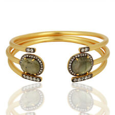 Handmade Gold Plated Labrador Gemstone Traditional Cuff Bangle Jewelry
